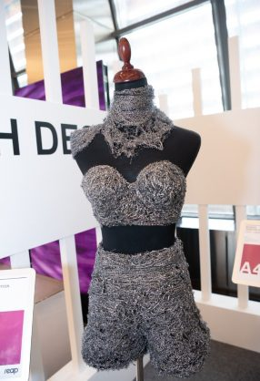 AMMAN, JORDAN - MARCH 29:  A design by Rasha Odeh Designs is displayed at Jordan Fashion Week 019 at the Kempinski Amman on March 29, 2019  in Amman, Jordan.  (Photo by Arun Nevader/Getty Images for Jordan Fashion Week)