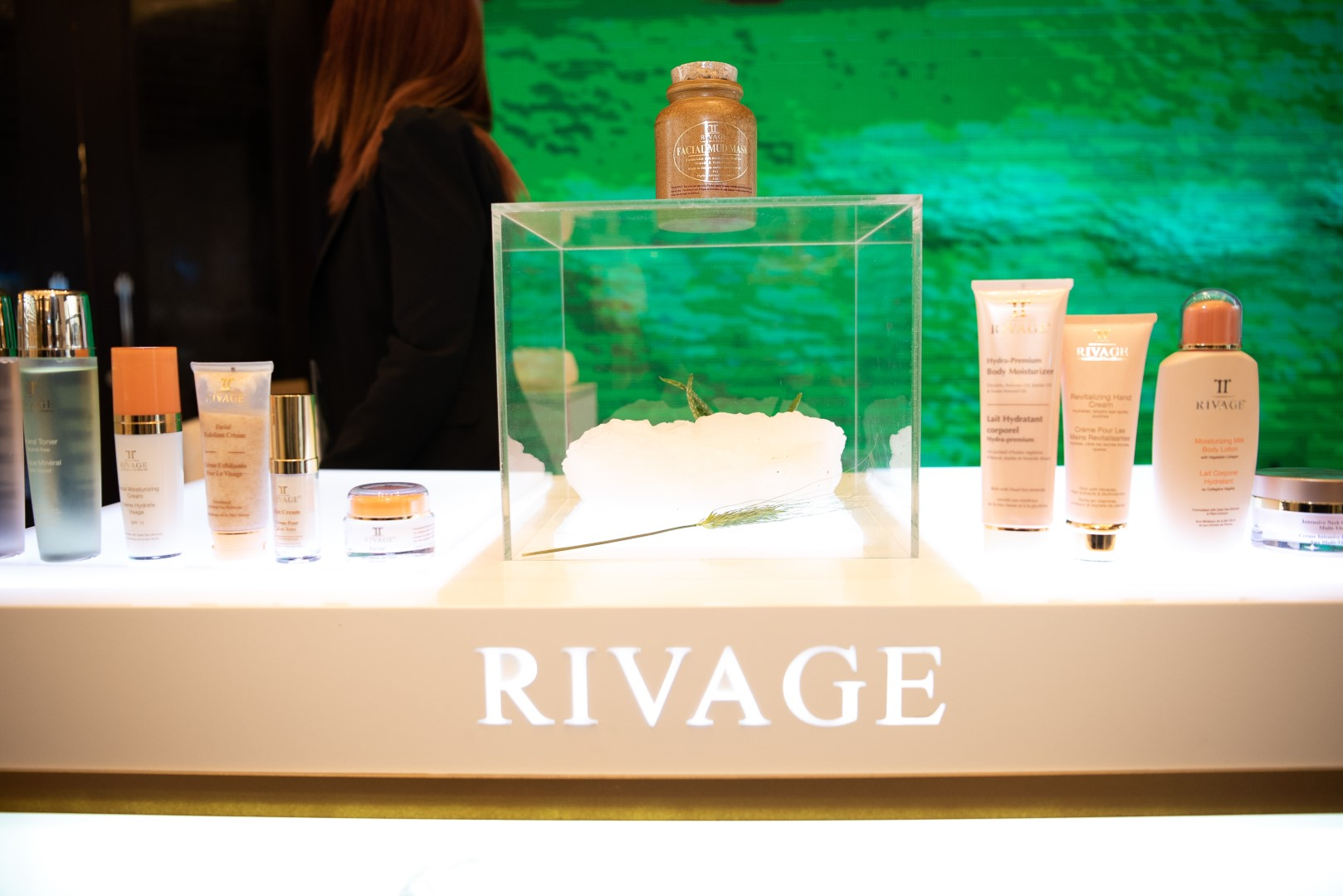 AMMAN, JORDAN - MARCH 29: Rivage skin care products are displayed at Jordan Fashion Week 019 at the Kempinski Amman on March 29, 2019 in Amman, Jordan (Photo by Arun Nevader/Getty Images for Jordan Fashion Week)