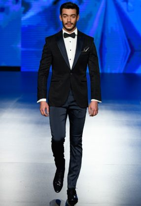 AMMAN, JORDAN - MARCH 30: A model walks the runway wearing Moustache during Jordan Fashion Week 019 at Kempinski Amman Hotel on March 30, 2019 in Amman, Jordan. (Photo by Arun Nevader/Getty Images for Jordan Fashion Week)
