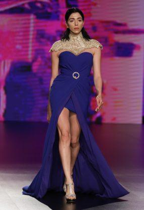 AMMAN, JORDAN - MARCH 29: A model walks the runway at the Zainab Al Kisswani show during Jordan Fashion Week 019 at the Kempinski Amman on March 29, 2019 in Amman, Jordan. (Photo by Thomas Concordia/Getty Images for Jordan Fashion Week)